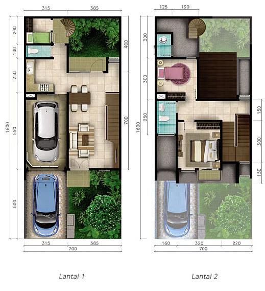 Denah Rumah Minimalis Ukuran 7x16 Meter 3 Kamar Tidur 2