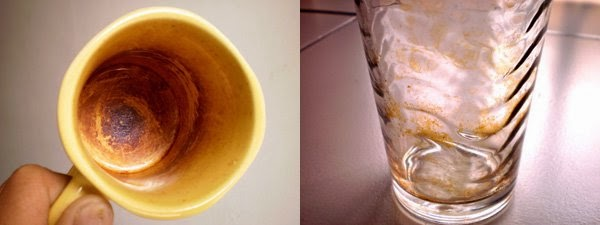 Cangkir bekas Propolis yang mengandung lilin