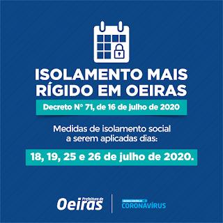 Prefeitura decreta isolamento mais rígido em Oeiras nos dias 18, 19, 25 e 26 de julho