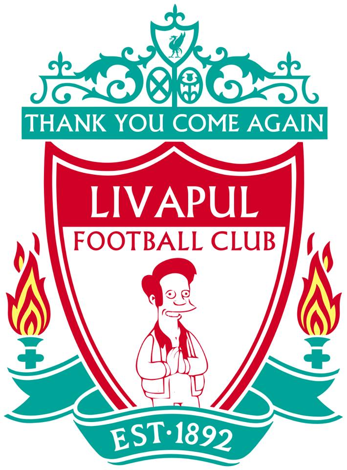 The Simpsons' version logo of Liverpool