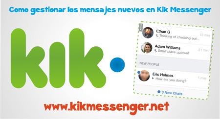 Como gestionar los mensajes nuevos en Kik Messenger