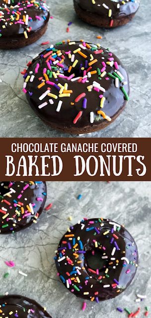Chocolate Ganache Dipped Baked Chocolate Donuts