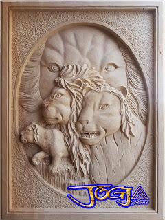 Ukiran relief batu alam gambar macan