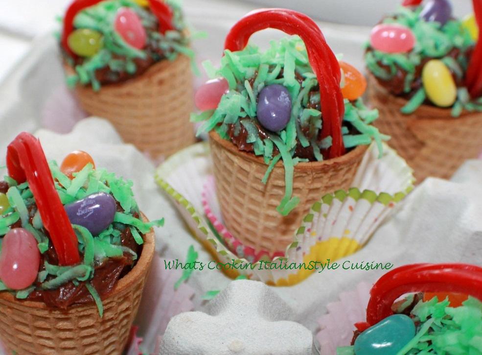 Ice cream cones made into cupcake baskets