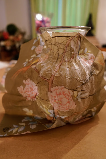 Bird napkins use for decoupage on a vase