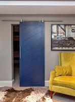 Blue slated barn door idea