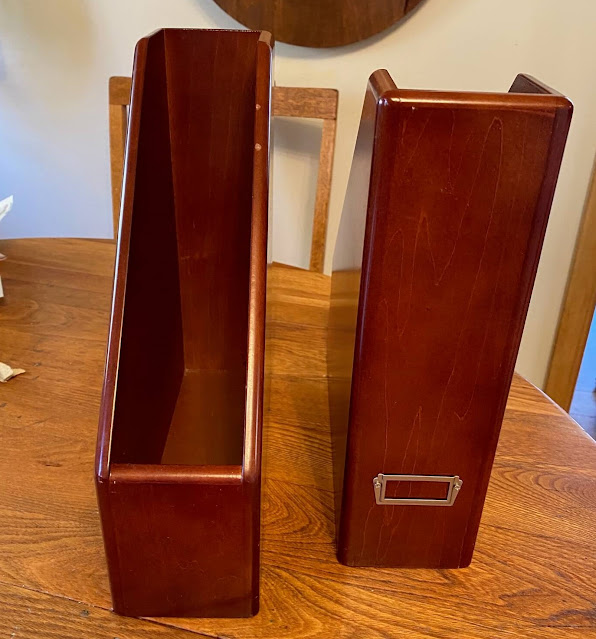 Photo of two wooden file bins