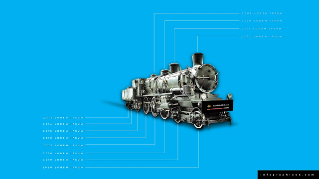 Timeline Infographic Elements with Locomotive in Blue Background Slide 2