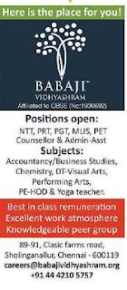 Babaji Vidhyashram Wanted Teachers