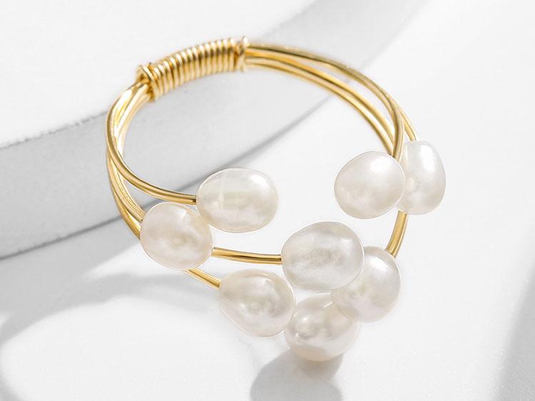 時尚感米粒珍珠開口式戒指