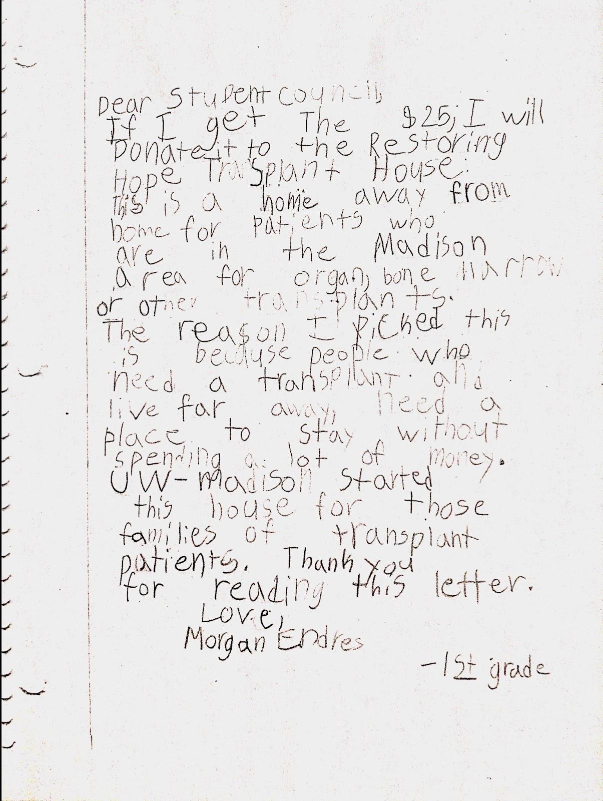 RESTORING HOPE TRANSPLANT HOUSE: Letter From Local 1st
