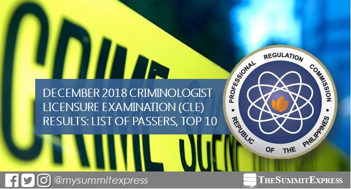 FULL RESULTS: December 2018 Criminologist CLE board exam list of passers, top 10