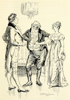 Sir William presents Elizabeth Bennet to Mr Darcy as a desirable partner by C E Brock (1895) From Pride and Prejudice by Jane Austen (1895 edition)