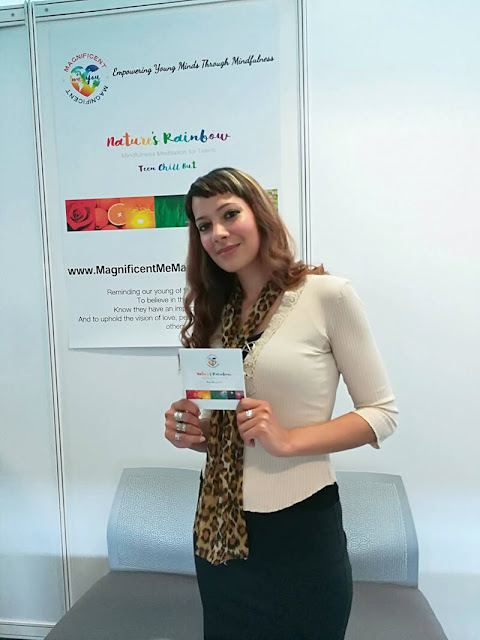 Anna-Christina with Nature's Rainbow Mindfulness Meditation for Teens album at the Mindful Living Show at the Business Design Centre