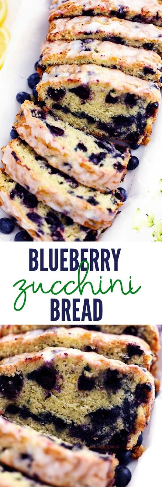 BLUEBERRY ZUCCHINI BREAD WITH A LEMON GLAZE #DESSERT