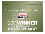 2011 Best Bodyshop in San Francisco Bay Area--Almost Everything Autobody--from SF Chronicle, SFGate.com & CityVoter.com