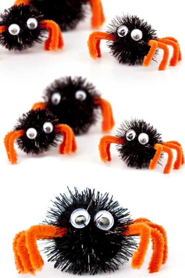 Make spiders using pom poms and hot glue.  How cute is this Halloween craft for preschool? I love it! #spidercraft #spidercraftspreschool #spidercraftsforkids #spiderart #spiderartpreschool #spideractivitiesforpreschool #halloweencrafts #halloweenactivityforkids #growingajeweledrose #activitiesforkids
