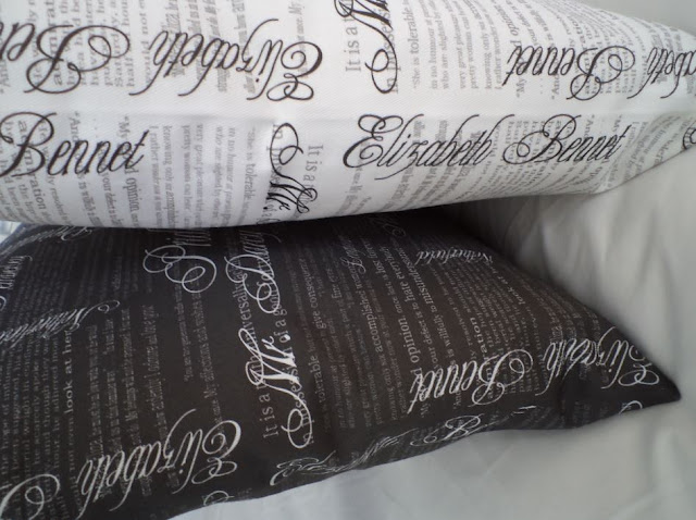 Throw pillows made with Pride & Prejudice fabric by eSheep Designs