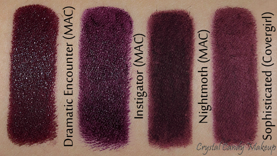 MAC Instigator Matte Lipstick Punk Couture Photos Swatches Dupe Comparisons Vampy Plum Lips Dramatic Encounter Nightmoth Lipliner Covergirl Sophisticated