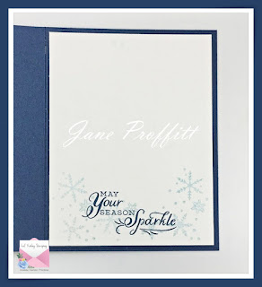 Don't forget the inside of the card.  I have added a sentiment and stamped snowflakes using the Snowflake Wishes stamp set from Stampin' Up!