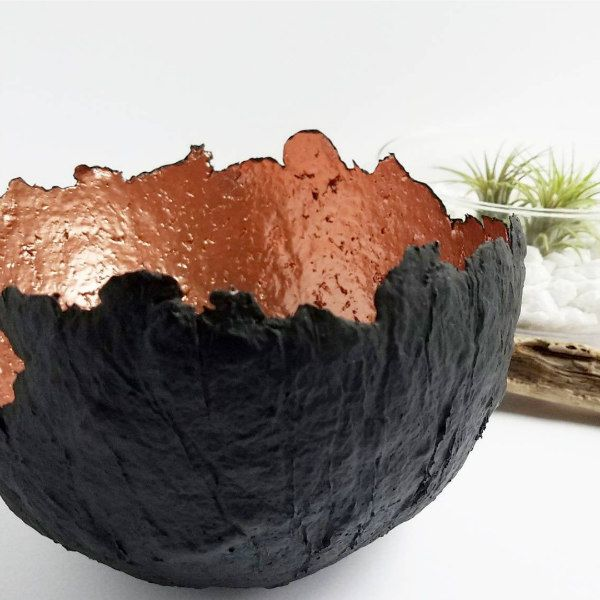 rustic paper pulp bowl in black and copper