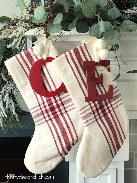red and white stockings with red initials