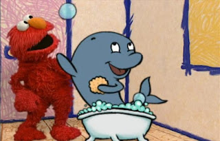 Elmo has a question How many bubbles does a whale make while taking a bath. Sesame Street Elmo's World Bath Time Elmo's Question