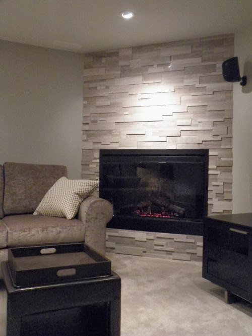 Contemporary Fireplace Room Candy: A Corner Fireplace Makeover