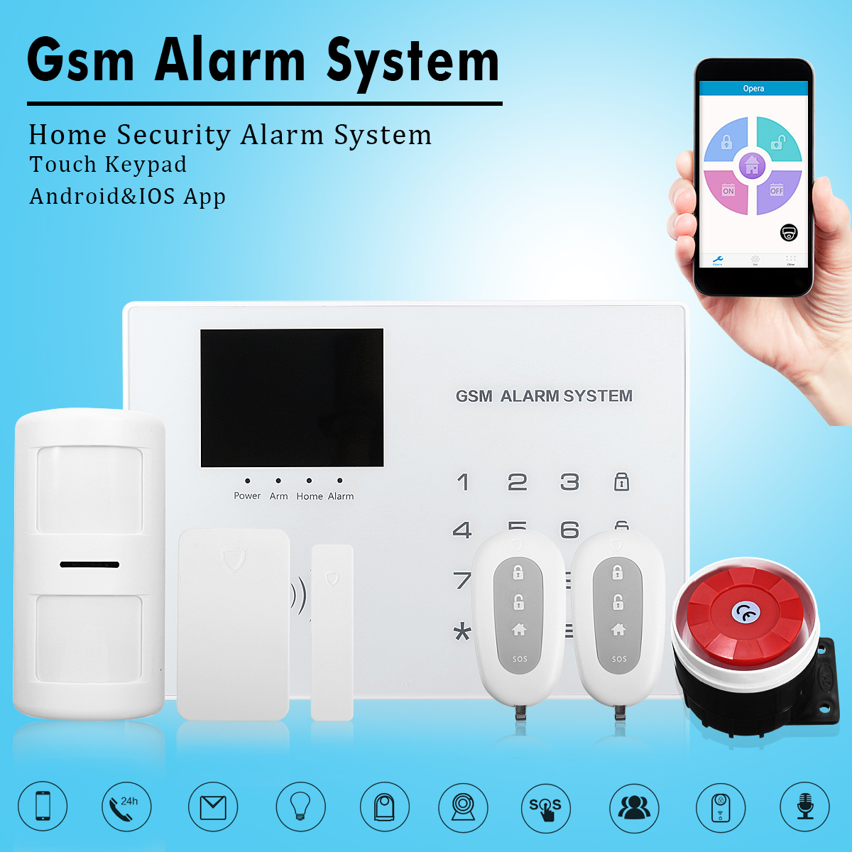 Smart Voice Wireless Gsm Home Security Burglar Alarm System Sms Gprs 433mhz Us Plug