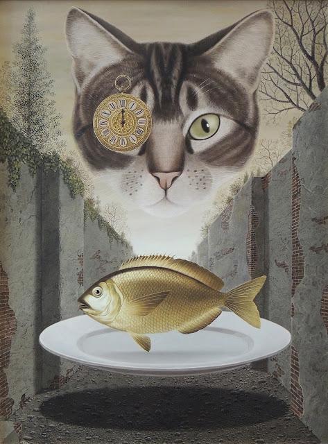 Gervasio Gallado pintura surrealista gato y pez