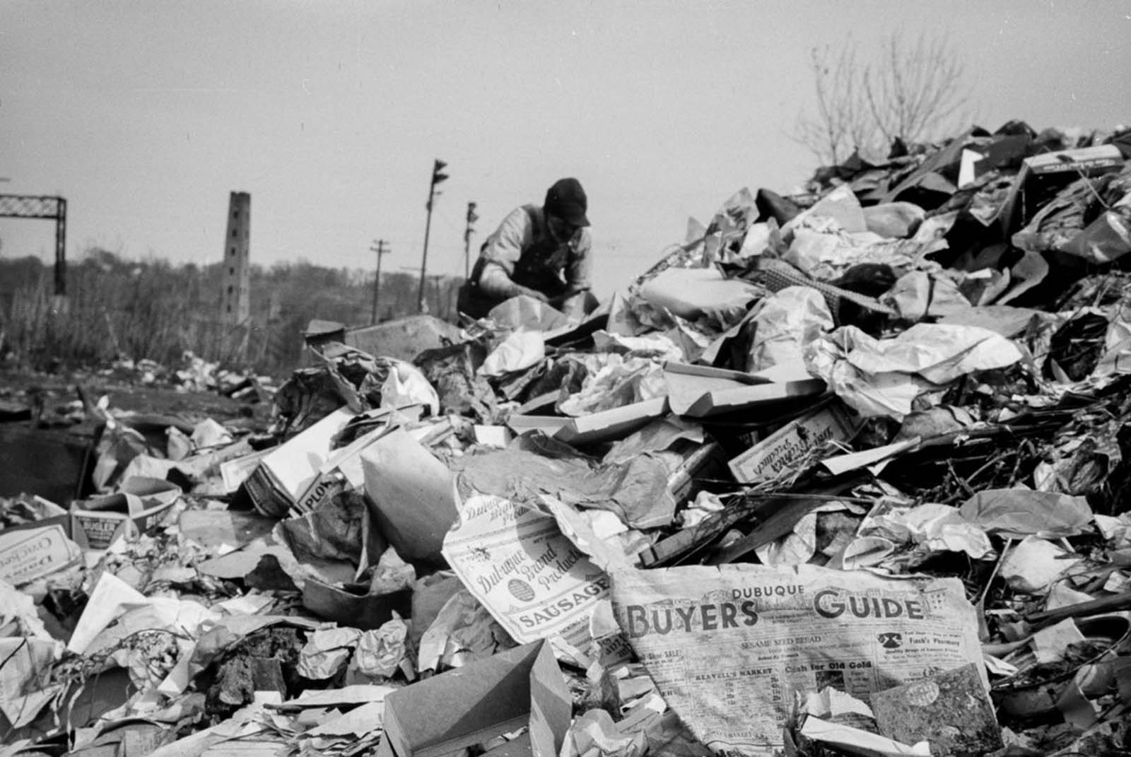 A man scavenges in the Dubuque city dump.