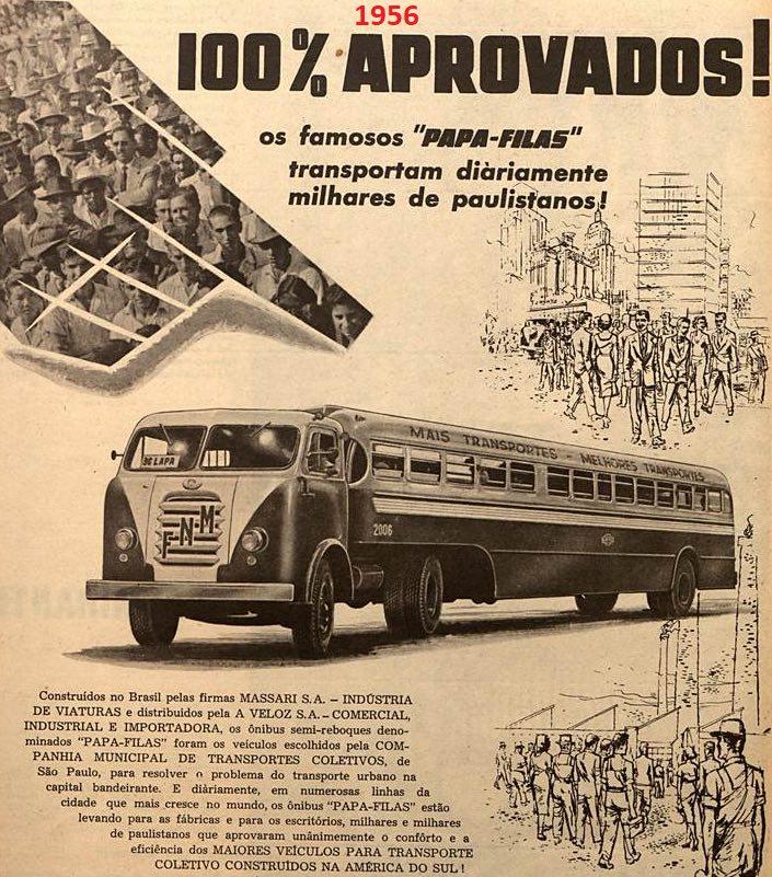 Anúncio de 1956 exaltava as qualidades do ônibus Papa-Filas