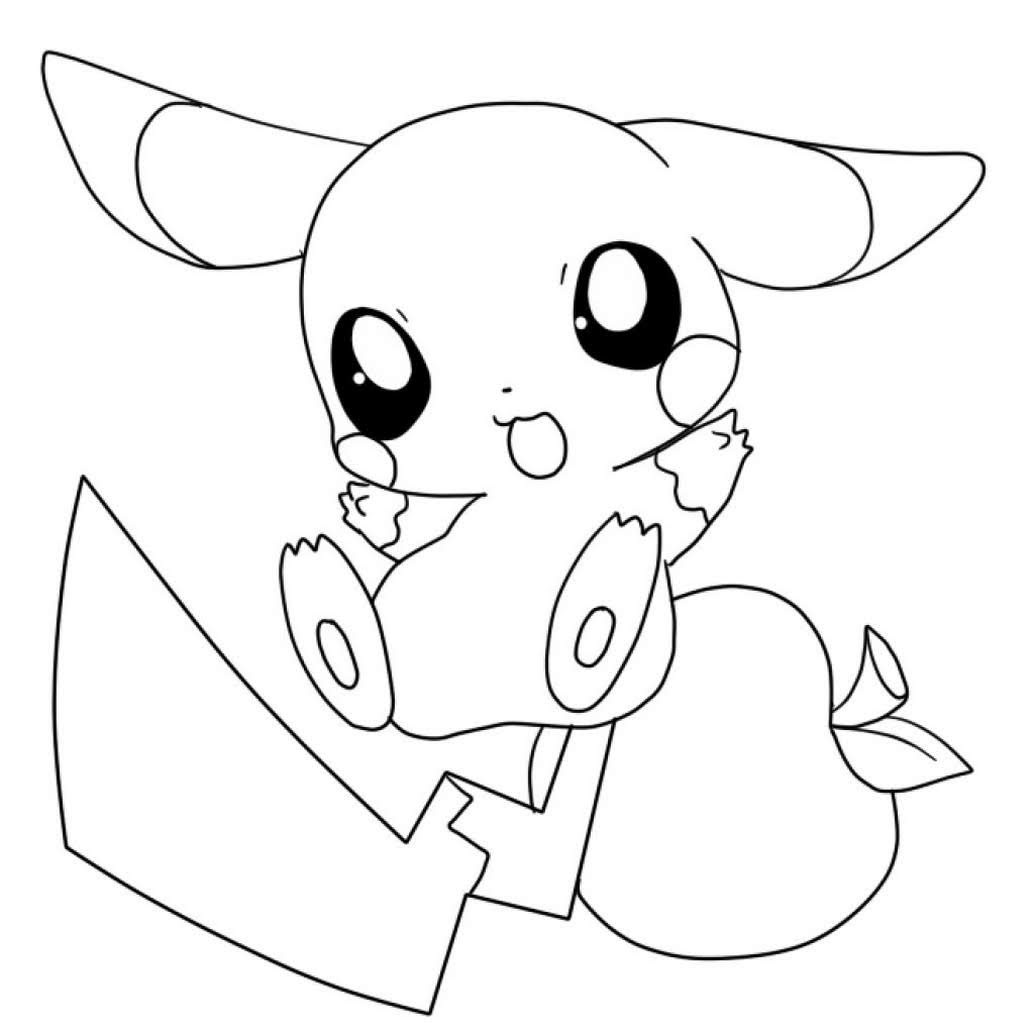 cute baby chibi pokemon go pikachu coloring pages free printable for kids boys