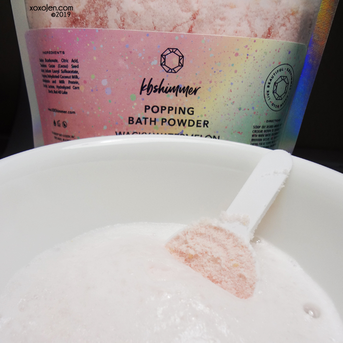 xoxoJen's swatch of KBShimmer Wacky Watermelon Popping Bath Powder
