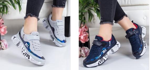 Adidasi fete la moda 2019 fashion cu talpa groasa gri, alvastri, albi