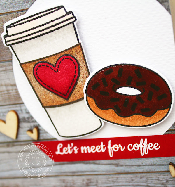 Sunny Studio Stamps: Mug Hugs & Sweet Shoppe Coffee & Donuts card by Vanessa Menhorn.
