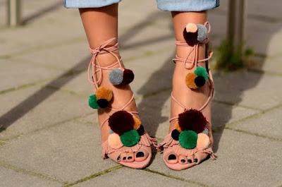 Zara Sandal pom pom heels