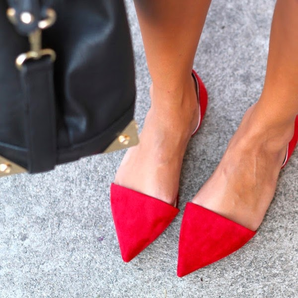 Pointy Red Flat Slingback Shoes