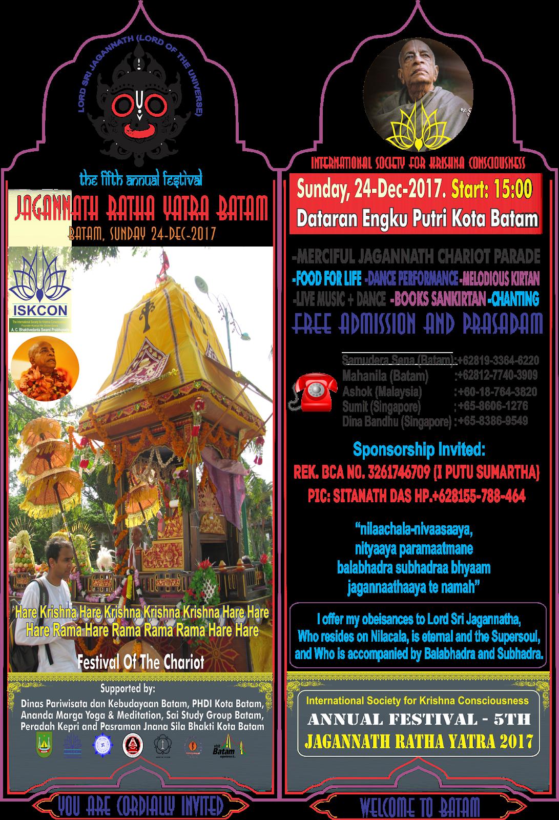 Jagannath Ratha Yatra Batam Ke 5 - Minggu 24 Dec 2017 ...