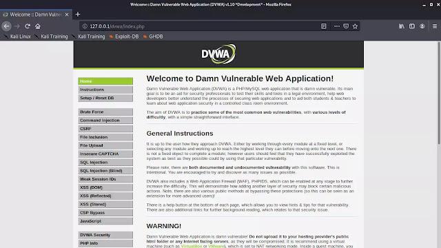 DVWA Main page