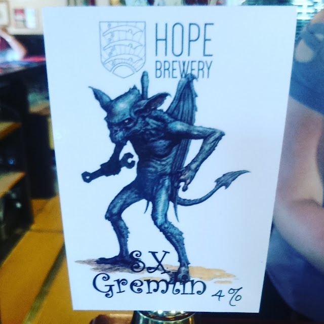 Essex Craft Beer Review: SX Gremlim from Hope Brewery real ale pump clip