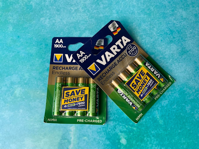 Photo of two four packs of VARTA Rechargeble AA batteries