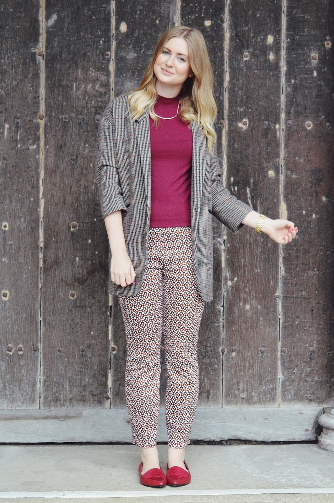 H&M printed trousers, FashionFake, fashion bloggers, Autumn fashion lookbook