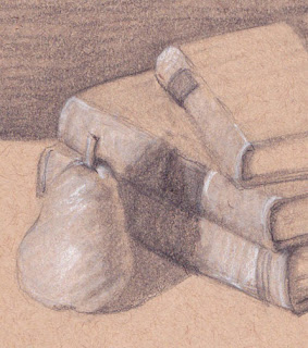 sketch, pear, graphite, charcoal, old books, toned paper, GSivitz