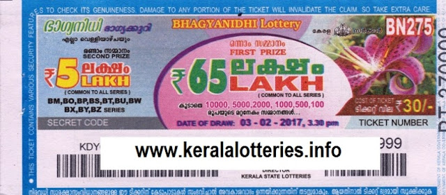 Kerala lottery result live of Bhagyanidhi (BN-225) on  19 February 2016