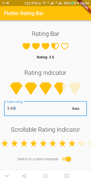 A simple ratingbar for flutter which also include a rating bar