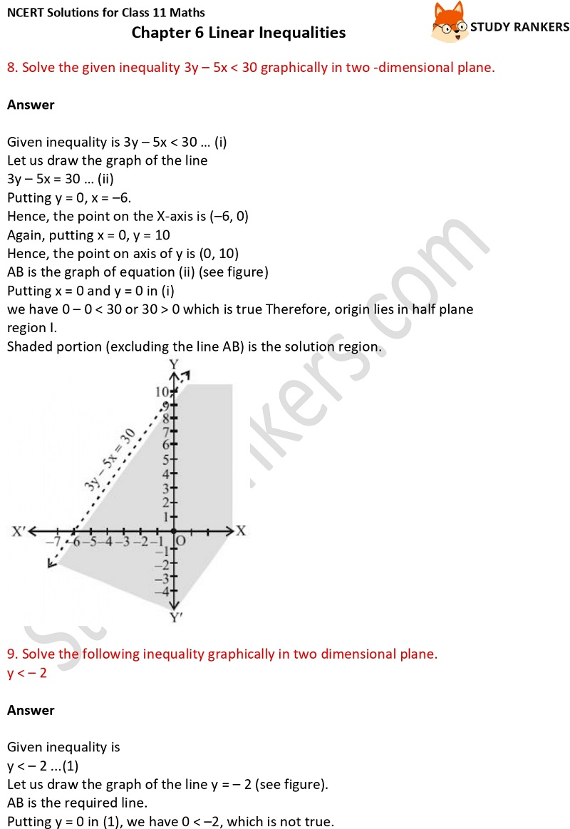 NCERT Solutions for Class 11 Maths Chapter 6 Linear Inequalities 15