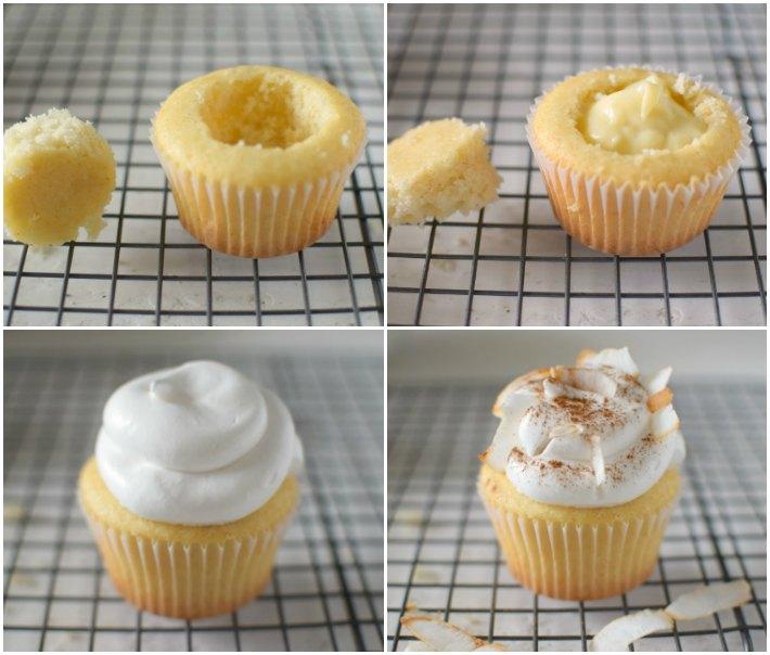 Paso a paso moentaje de los cupcakes de bienmesabe, dulce tradicional venezolano. Se abre un hueco en el centro del cupcake, se rellena con la crema de coco, se decora con merengue, canela en polvo y coco rallado