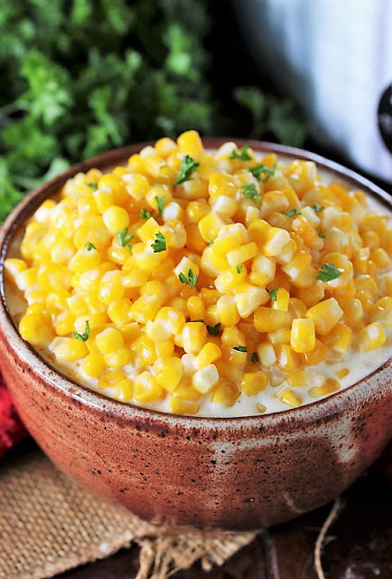Serving Bowl of Crock Pot Creamed Corn Image