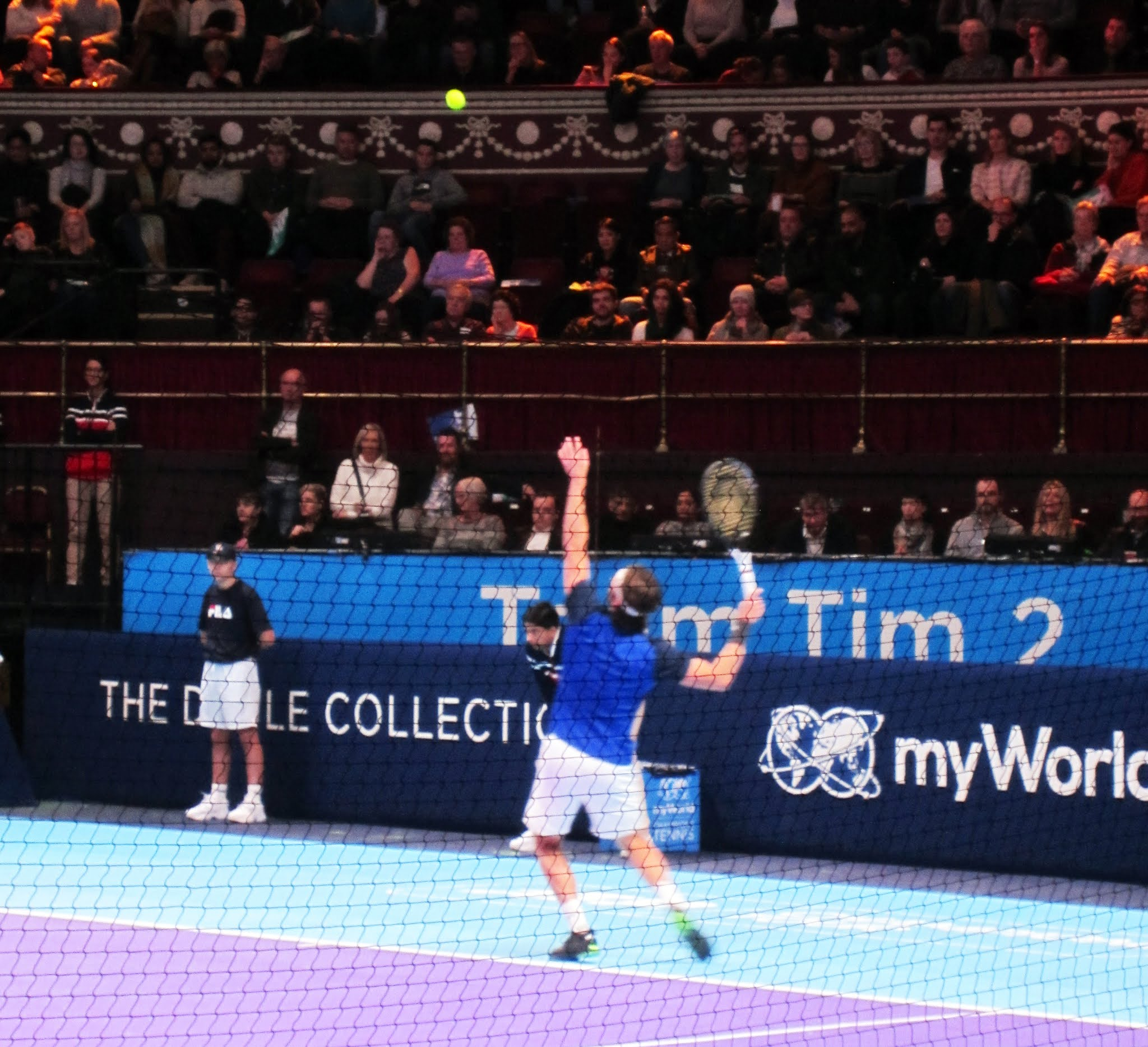 Juan-Carlos Ferrero serves during his match against Tommy Haas at myWorld Champions Tennis